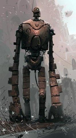 robot, castle in the sky, illustration