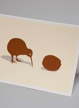 Made By Morris #printed #silkscreen #couple #a #of #kiwis #brown #hand