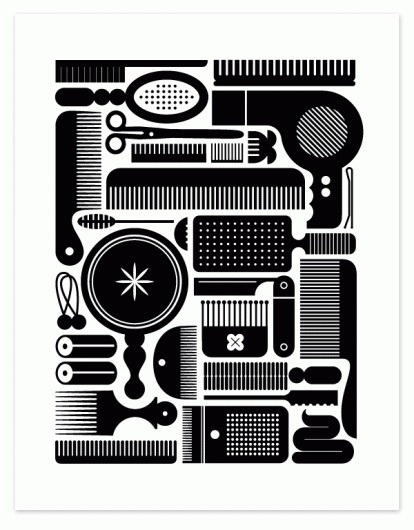 Eight Hour Day » Brush and Stuff Poster #hour #eight #sweet #hair #illustration #day #poster #show
