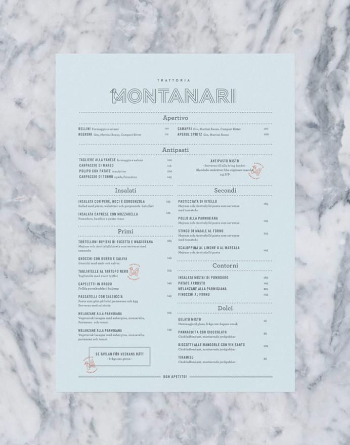 Trattoria Montanari by Twenty-Five Art House #menu #print #list