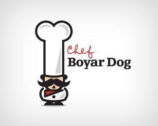 Chef Boyar Dog by Double A #bone #food #cook #hat #chef #man #dog