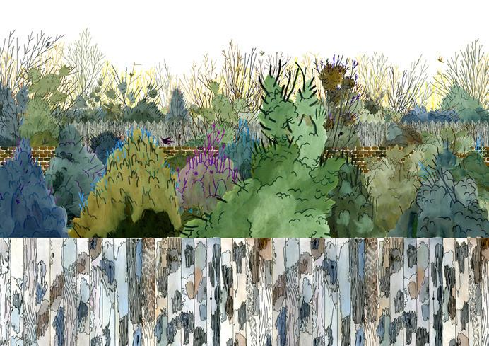 http://henrymccausland.com/2011_Overgrown.jpg #trees #wood #illustration #plants