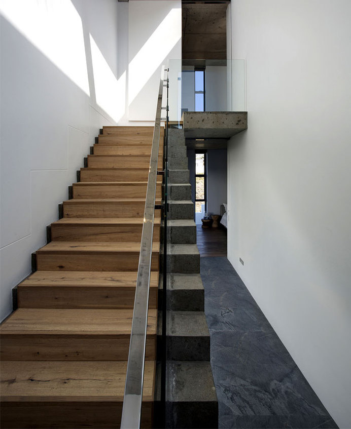 Sophisticated and Elegant Pearl Bay Residence floors finished wide board oak #stairs