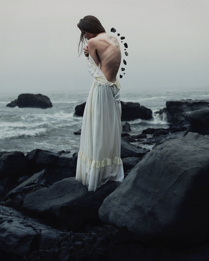 New Amazingly Surreal Portraits by 19-Year-Old Alex Stoddard - My Modern Met #girl #photo #rocks #photography #back #manipulation #surreal #beach #coast #beauty