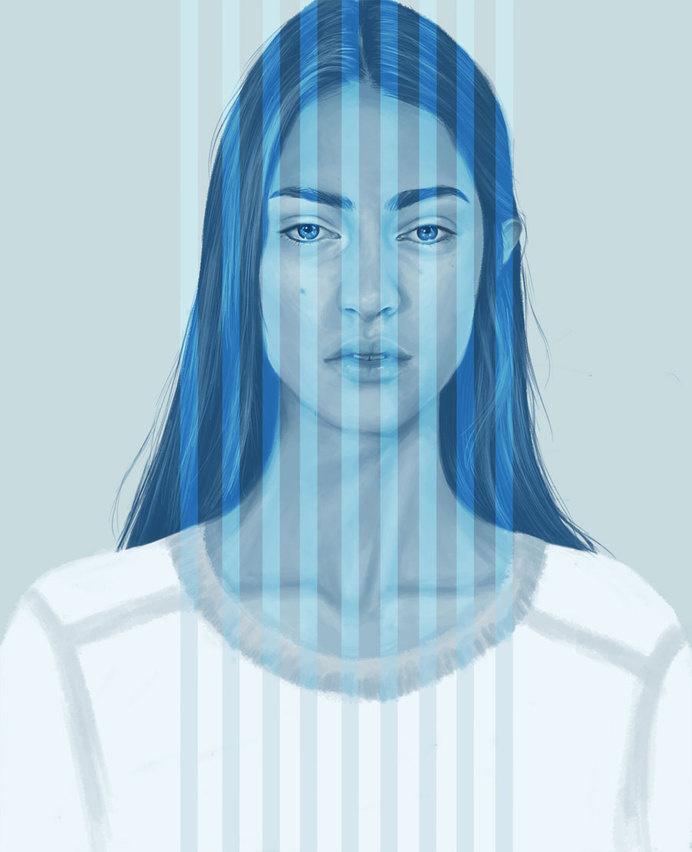 KEMI MAI | artnau #lines #woman #girl #illustration #portrait #painting #blue #face #beauty