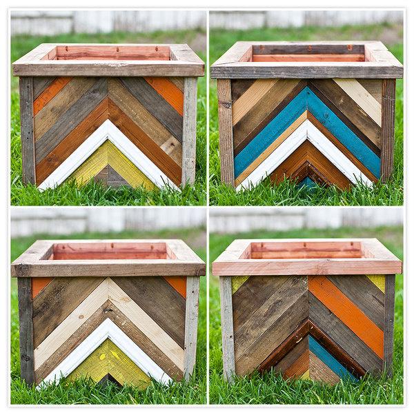chevron-pattern-diy-planter-box-03 #wood