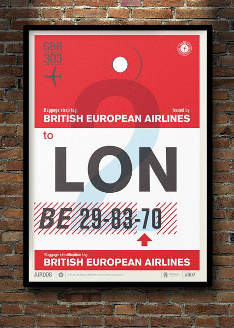 Image of Flight Tag Prints London #stevens #neil #illustration #wish #poster #list #typography