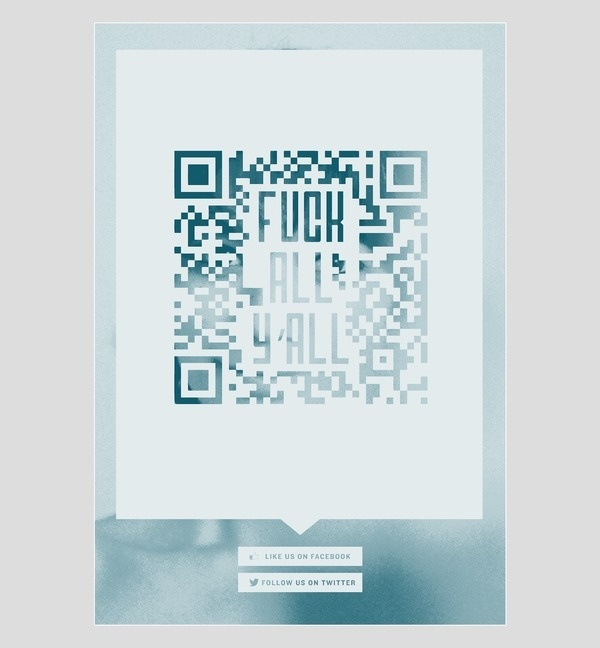 fuck qr codes #halftone #photograph #poster #one #blue #colour
