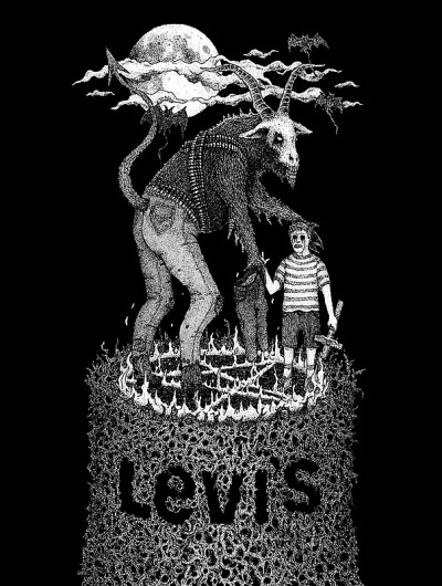 and if it's real #white #levis #black #goat #illustration #drawing #satan