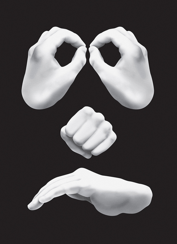 Hand Made by Jesse Auersalo — Agent Pekka #white #and #black #illustration #hands