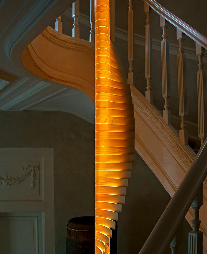 Wooden Light Sculpture by Mike Vanbelleghem helix modular lamp 3 #modular #lamp #dooden #design #light
