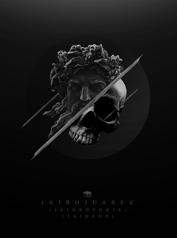 BLACKSTUFF on Behance #white #design #slice #black #statue #illustration #and #skull #dark #grey