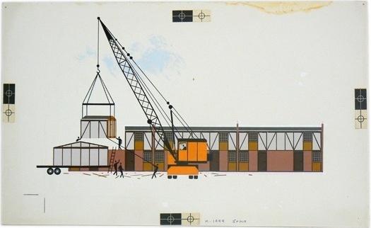 Charley Harper / Crane and housing development / 1970 #charley #harper #crane