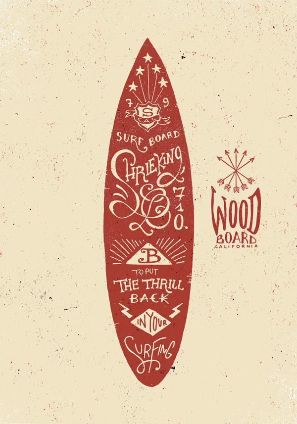 Surfboard typography #surfing #handwritten #typography