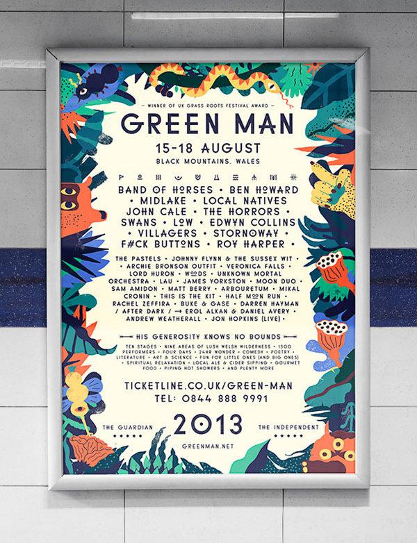 Green Man Festival poster #illustration #festival #poster #typography
