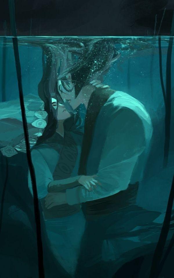Held In Water #illustration #couple #underwater