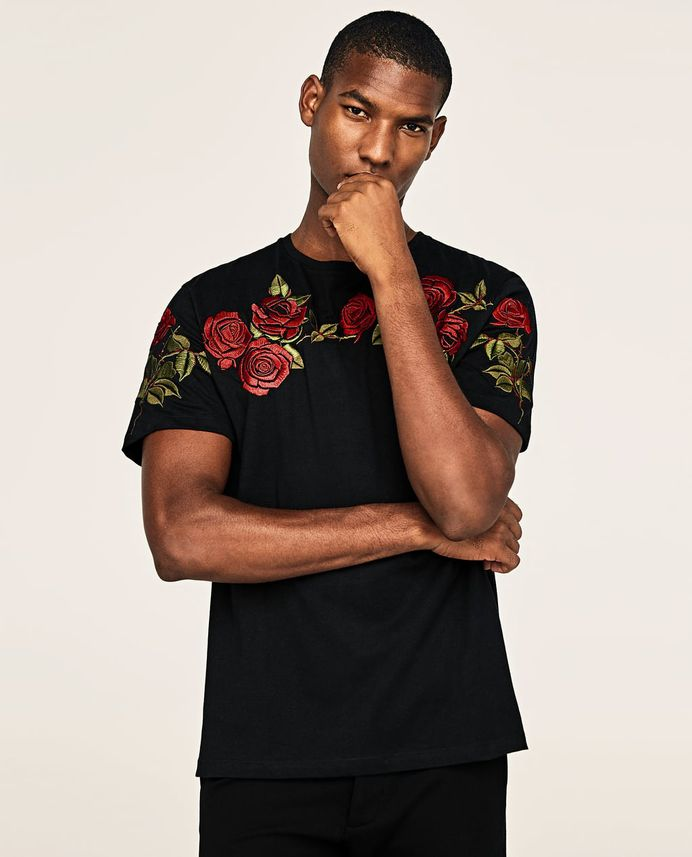 EMBROIDERED ROSES T-SHIRT - Available in more colours