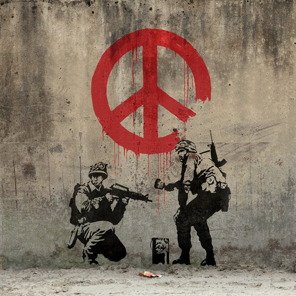 Google Image Result for http://3.bp.blogspot.com/ bya8sziOL40/To0mcA8y4TI/AAAAAAAAAqg/3LynanyW63c/s1600/banksy___peace_by_ng_aniki d32d1so%2 #graffiti #peace