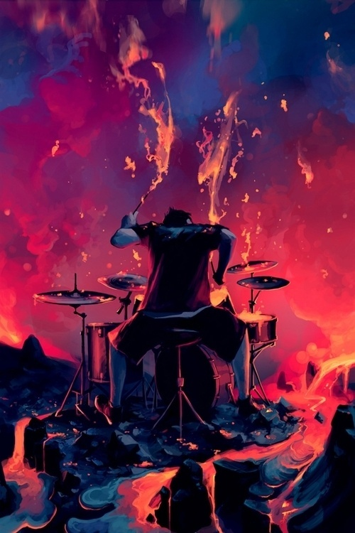 Illustration/Painting/Drawing inspiration #red #drums #lava #music #blue