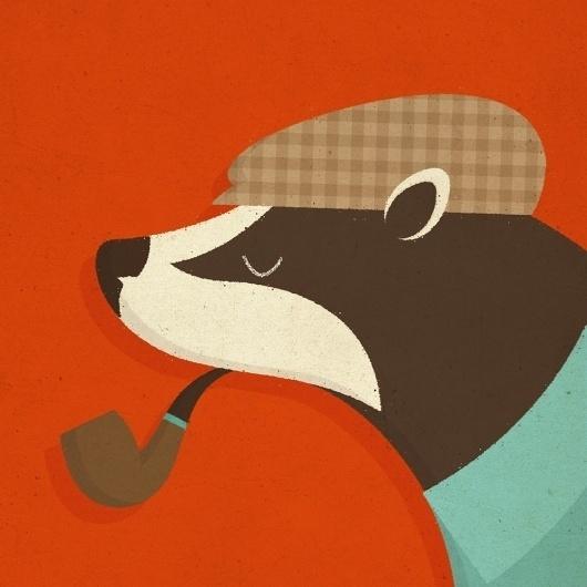il_fullxfull.206546752.jpg 1000×1000 pixels #fox #plaid #design #illustration #pipe
