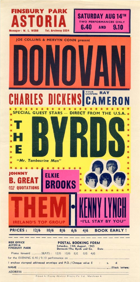 1965 Concert Poster with Donovan, The Byrds, Johnny B. Great #poster