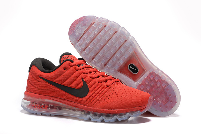 Knitting line all palm nano drop plastic technology Men's Air Max 2017 Sports Shoes Orange red