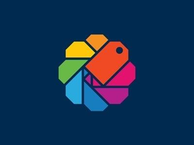Dribbble - Mine by Richard Perez #shopping #branding #icon #identity #logo #rainbow