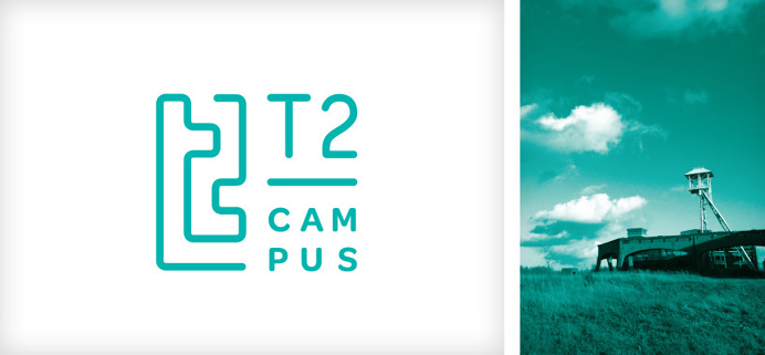 Logo design for T2-campus in Genk, Belgium. T2 stands for Talent & Technology. #logo #design #graphic