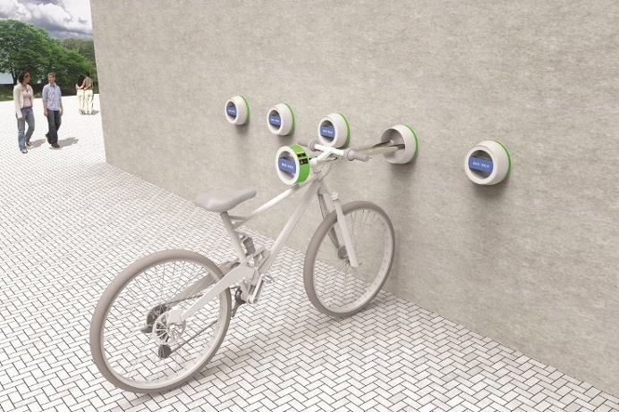 The Halla Wall-Hanger is an #outdoor #bike mount that extends and retracts into the wall to conserve space. #productdesign