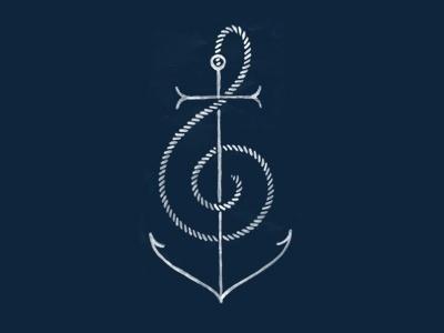 Dribbble - Anchor Music by Ross Bruggink #music #logo #illustration #anchor