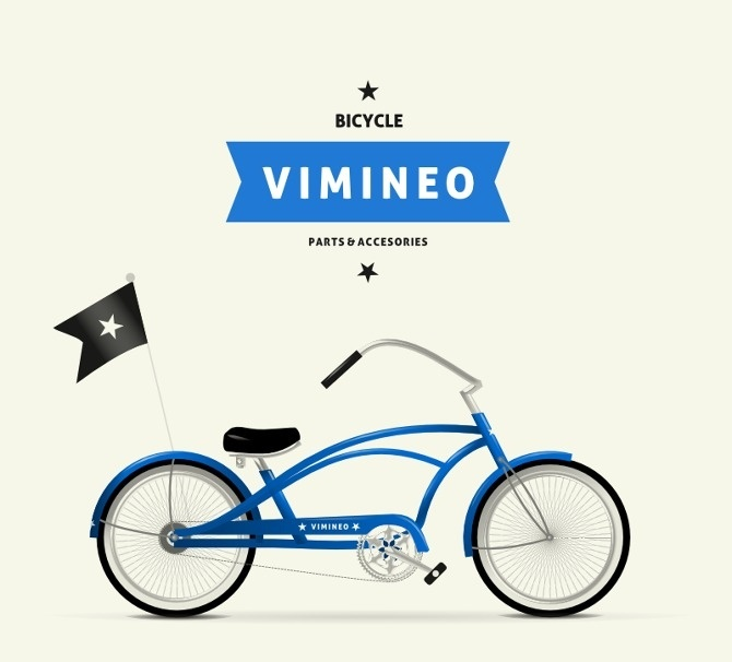 Vimineo logo design. #bicycle #cruiser #retro #star #ribbon #logo