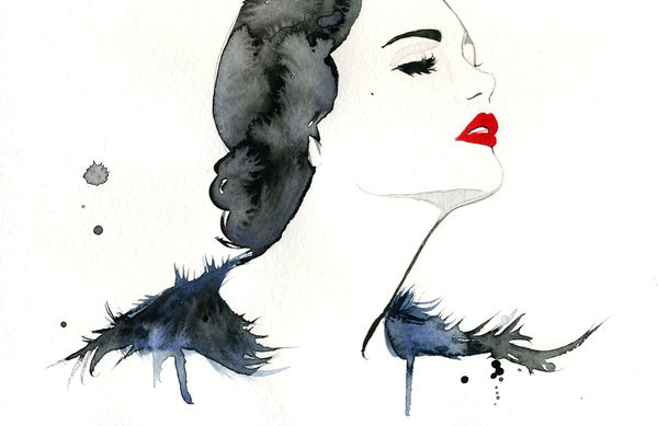 Watercolor Fashion Illustration Girl Gone Gatsby print #acuarela #illustration #watercolor #woman