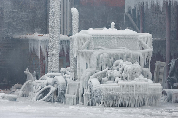 Fire and Ice: The Frozen Aftermath of a Chicago Warehouse Fire #ice #snow