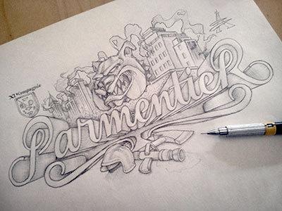 Parmentier sketch #drawn #hand #typography