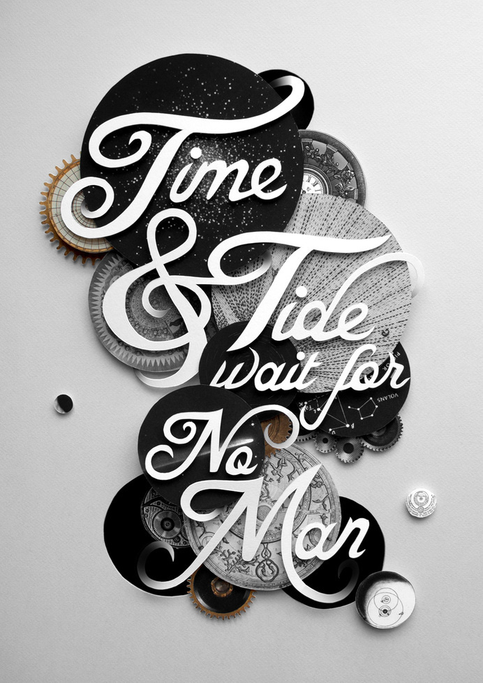 Time & Tide Wait For No Man #inspiration #b&w #time #and #tide #typography