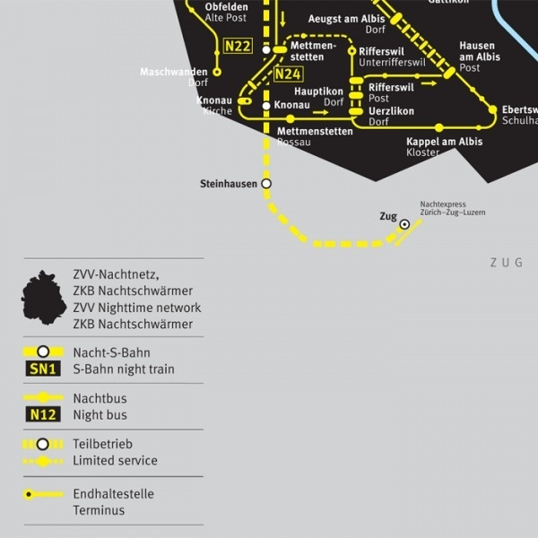 ZVV Nighttime Network Map - Fonts In Use #swiss #public #transit #infographic #meta #ff #maps