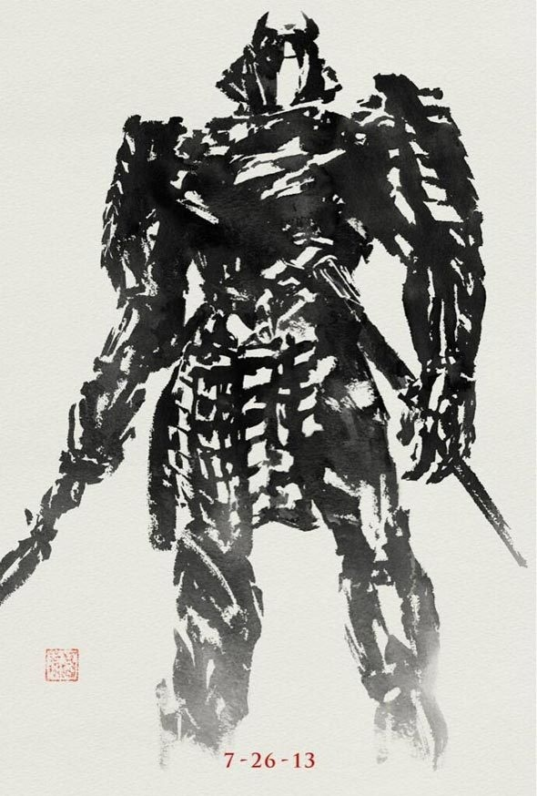 Poster: The Wolverine's Silver Samurai | News | Dark Horizons #ink #white #stroke #black #wolverine #illustration #painting #and #samurai #brush