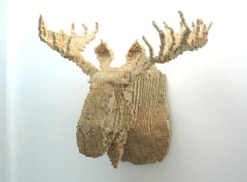 Trophy Heads of Animals, Rendered in 8-bit - DesignTAXI.com #sculpture #bit #wood #moose #animals