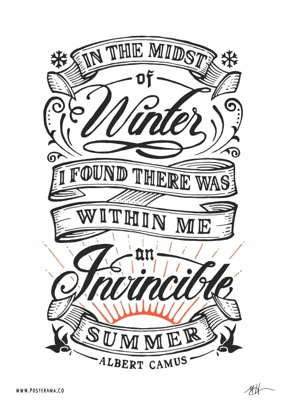 Inspirational quotes: Albert Camus Invincible Summer poster #quote #handlettering #typography