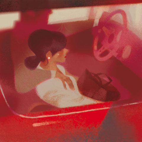 annette marnat #girl #illustration #red #car