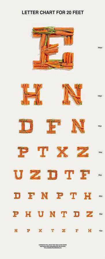 Carrot Eye Chart Neatorama #doctor #food #eye #type #fun #carrots #chart
