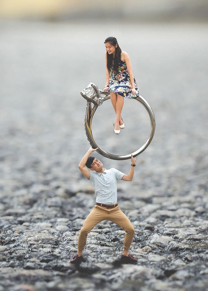 Miniature Photo Shoot Ideas with engagement ring