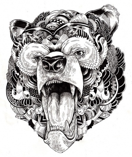 Incredibly Detailed Animal Illustrations - My Modern Metropolis #bear #illustrations