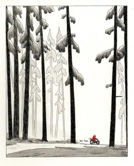 Drawn #fox #illustration #bike #forest #trees