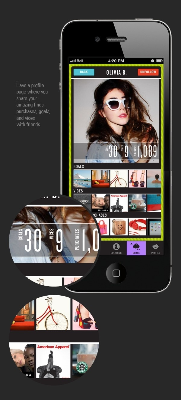Vice iPhone App on the Behance Network #user #profile #sidorko #social #infographics #infographic #graphic #interface #buttons #iphone #info #app #network #finance #marina #layout #sharing #money #typography