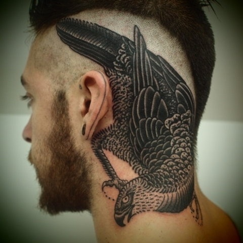 FFFFOUND! | EIKNARF #job #head #bird #tattoo #stopper