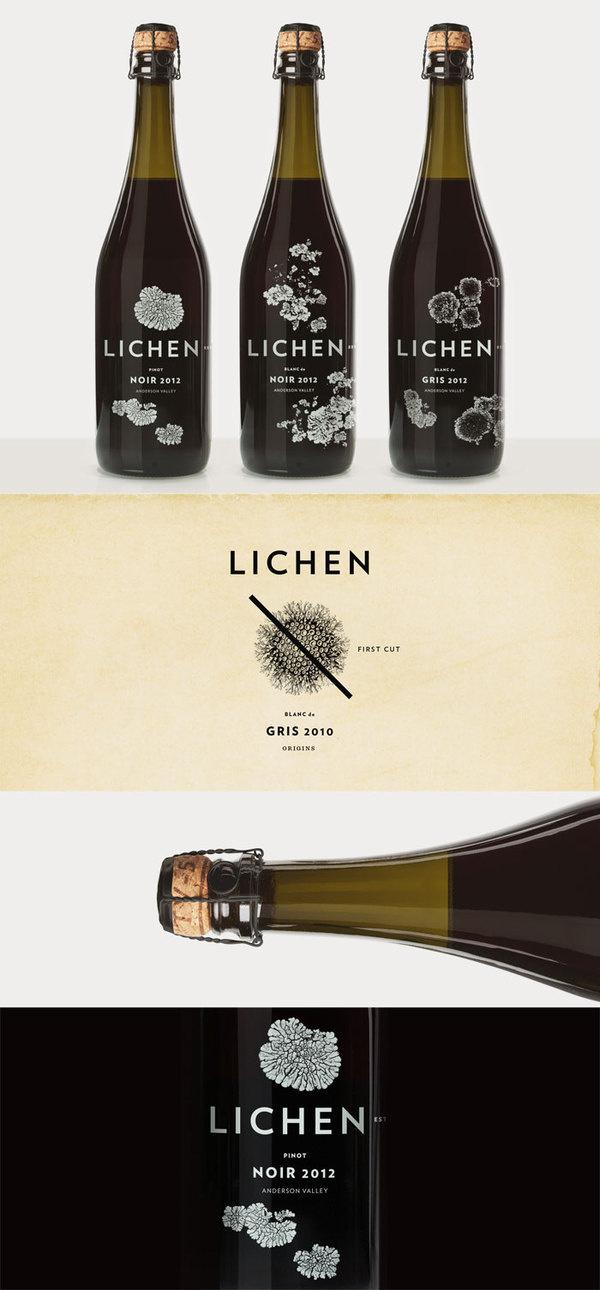 Lichen #packaging #bottle #wine #typography
