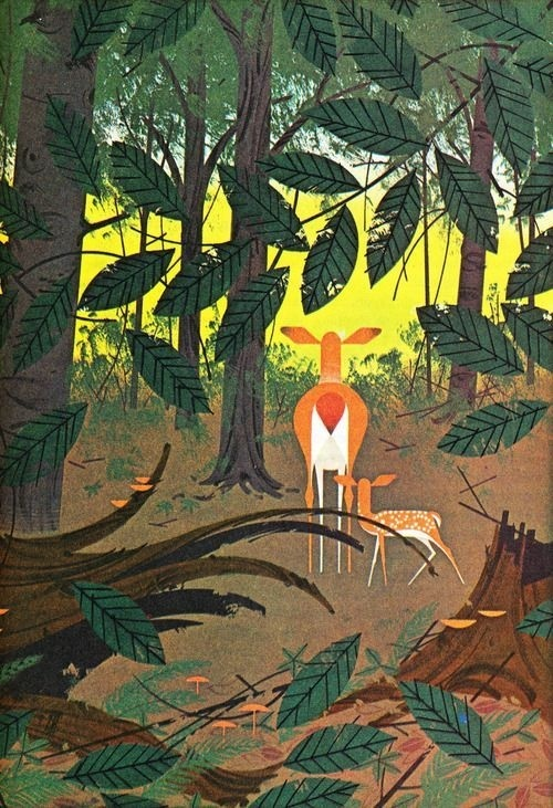 forest, deer, illustration #deer #illustration