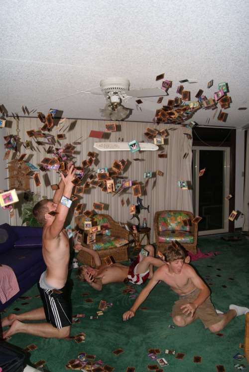 The single greatest picture ever taken in my life. We threw Yu-gi-oh cards at the ceiling fan to watch them scatter, and just happened to ta #photo #yugioh #snealiv