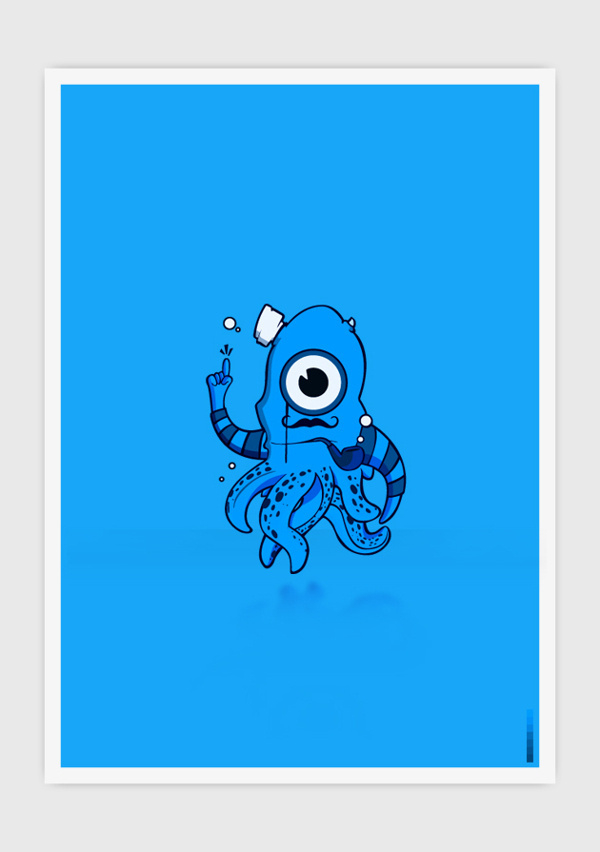 Blue Octopus #digital #design #art #vector